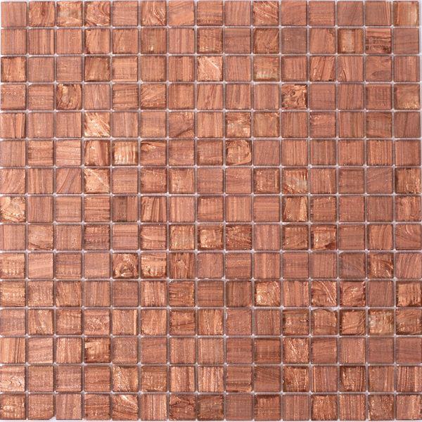 Glasmosaik Bronze Uni 2x2 cm | 32,5x32,5 cm